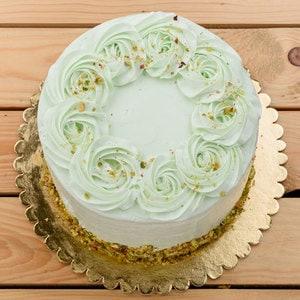 Pistachio layered sponge cake top
