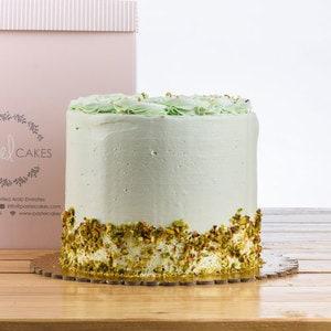 Pistachio layered sponge cake side