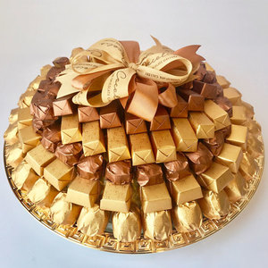 Cocolis Chocolate - Round Plate Gold M - 200pcs/ 2 Kg | Buy Desserts in Dubai UAE | Gifts
