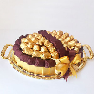 Cocolis Chocolate - Oval Tray Gold M - 100pcs/ 1.5 Kg | Buy Desserts in Dubai UAE | Gifts