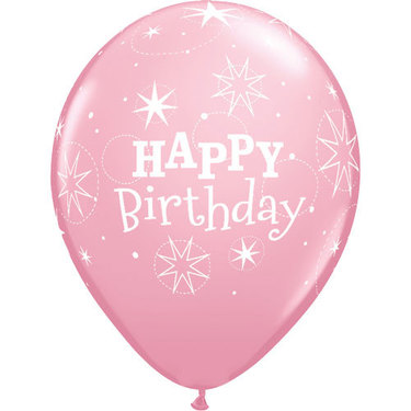Happy Birthday Rubber Balloon Light Pink