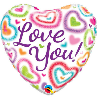 Love You! Fuzzy Hearts Foil Balloon | Buy Balloons in Dubai UAE | Gifts