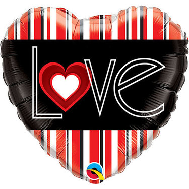 LOVE Red Stripes Foil Balloon | Buy Balloons in Dubai UAE | Gifts