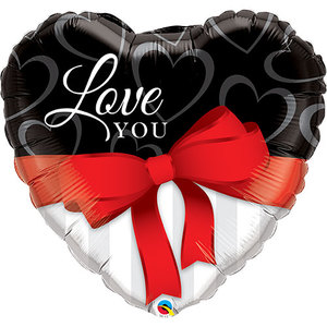 Love You Red Ribbon Foil Balloon | Buy Balloons in Dubai UAE | Gifts