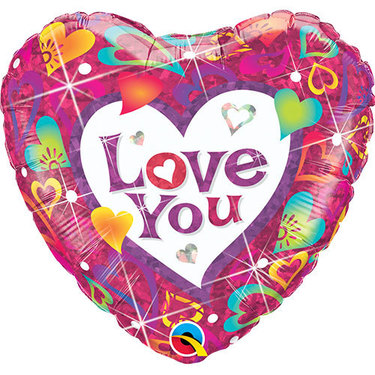 Love You Vibrant Hearts Foil Balloon | Buy Balloons in Dubai UAE | Gifts