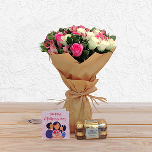 Sweet Melody Bouquet Package English Greeting Card + Chocolates | Buy Flowers in Dubai UAE | Gifts