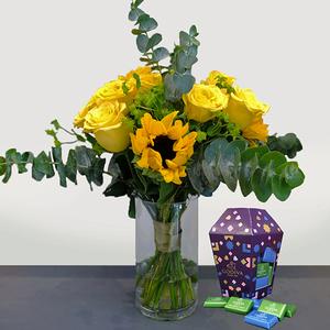 Beaming Sunshine Package with Godiva Chocolates | Buy Flowers in Dubai UAE | Gifts