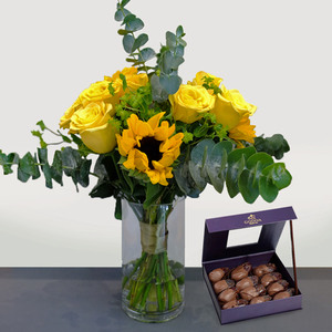Beaming Sunshine Package with Godiva Dates| Buy Flowers in Dubai UAE | Gifts